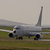 One of the RAF's newly delivered converted Boeing 737's known as Poseidens taxi's out to depart on a coastal / maratine defence sortie. The aircraft is ZP 802 of No 54 Sqn /120 Sqn RAF Lossiemouth