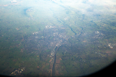 This took a lot of studying the OS map and aerial photos to identify it and below is Preston.  The River Ribble curves its way through the centre of the photo.  In the bottom left is Lea Town, with Lostock Hall, Leyland and Walton Summit to the centre right.