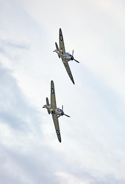 Spitfire (P7350) Mk IIa and Hawker Hurricane (LF363) Mk IIc at East Fortune - 25 July 2015