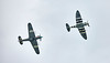 Hurricane PZ865 (Mk IIc) and Spitfire AB9 at East Fortune - 23 July 2016
