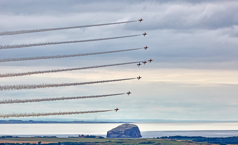 Red Arrows Over Bass Rock in East Lothian - 23 July 2016