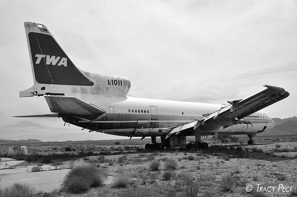 Part of the old TWA fleet, this L-1011 is located at the Kingman Airport in Arizona.