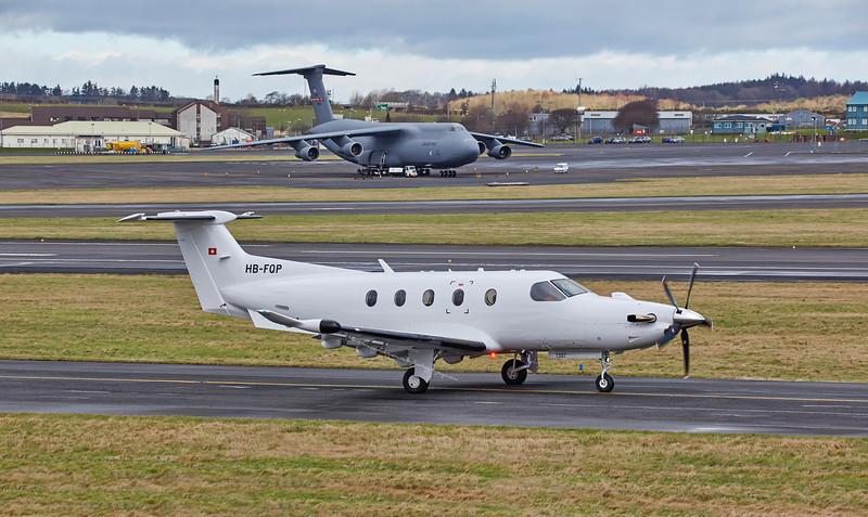 Pilatus PC-12/47 (HB-FQP) at Prestwick Airport - 10 February 2016