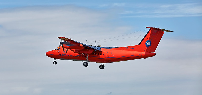 British Antarctic Survey DHC-7-110, Dash 7 (VP-FBQ) at Prestwick Airport - 7 July 2016