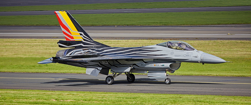 Belgian Air Force F16 (FA-123) at Prestwick Airport - 2 September 2017