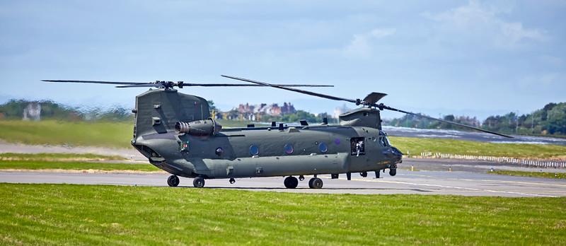 RAF Boeing CH47 HC-4 Chinook (ZA720) at Prestwick Airport - 7 June 2017