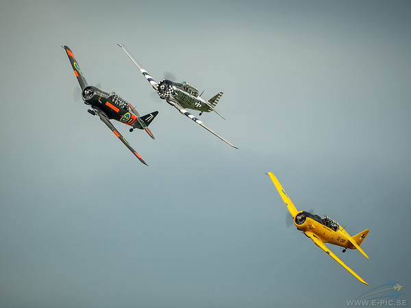Two Noorduyn AT-16 Harvard IIB and one North American AT-6A Texan (Yellow)