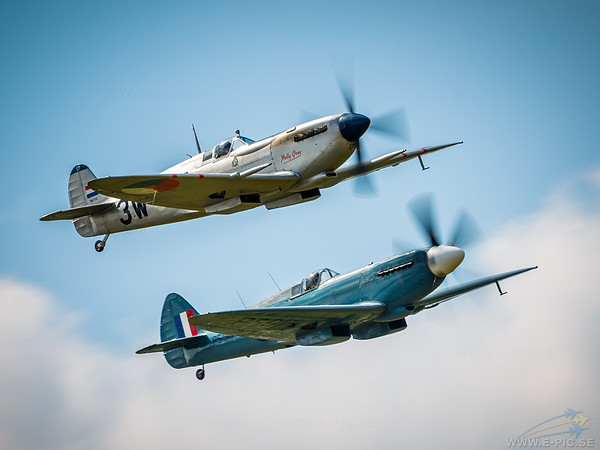 "High Rez and more Spitfire images here: <a href=""http://www.e-pic.se/Aircraft/Aircraft-sorted-by-type/Supermarine/Supermarine-Spitfire/"">http://www.e-pic.se/Aircraft/Aircraft-sorted-by-type/Supermarine/Supermarine-Spitfire/</a><br /> <br /> The Supermarine Spitfire is a British single-seat fighter aircraft that was used by the Royal Air Force and many other Allied countries before, during and after World War II. The Spitfire was built in many variants in greater numbers than any other British aircraft. The Spitfire continues to be popular among enthusiasts; about 54 remain airworthy.<br /> <br /> During the Battle of Britain, from July to October 1940, the Spitfire was perceived by the public to be the main RAF fighter, though the more numerous Hawker Hurricane shouldered a greater proportion of the burden against the Nazi German air force, the Luftwaffe. Spitfire units, however, had a lower attrition rate and a higher victory-to-loss ratio than those flying Hurricanes because of its higher performance. Spitfires in general were tasked with engaging Luftwaffe fighters (mainly Messerschmitt Bf 109E series aircraft which were a close match for the Spitfire) during the Battle.<br /> <br /> After the Battle of Britain, the Spitfire superseded the Hurricane to become the backbone of RAF Fighter Command, and saw action in the European, Mediterranean, Pacific and the South-East Asian theatres. Much loved by its pilots, the Spitfire served in several roles, including interceptor, photo-reconnaissance, fighter-bomber and trainer, and it continued to serve in these roles until the 1950s. The Seafire was a carrier-based adaptation of the Spitfire which served in the Fleet Air Arm from 1942 through to the mid-1950s. Although the original airframe was designed to be powered by a Rolls-Royce Merlin engine producing 1,030 hp (768 kW), it was strong enough and adaptable enough to use increasingly powerful Merlins and, in later marks, Rolls-Royce Griffon engines producing up to 2,340 hp (1,745 kW); as a consequence of this the Spitfire's performance and capabilities improved over the course of its life.<br /> <br /> #Supermarine #Spitfire #Aircraft #Aviation #Fighter #Warbird #E_PIC_SE"