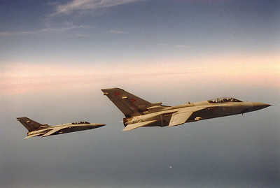 Two Tornados in formation with the tanker.  None of the F3s had under wing fuel tanks so they needed refueling more than the F4s.