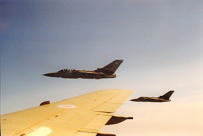Looking out over the starboard wing with two F3 Tornados in formation.  What a fantastic time I had and I shot over 2 rolls of 36 exposure films.  If this was done in the digital age I would have taken several HUNDRED shots!!