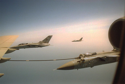 Three Tornados off the starboard wing.