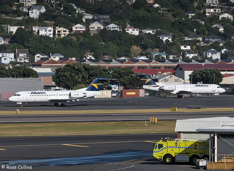 Alliance Airlines F70 VH-NKU and VH-QQX at Wellington, 22 January 2019