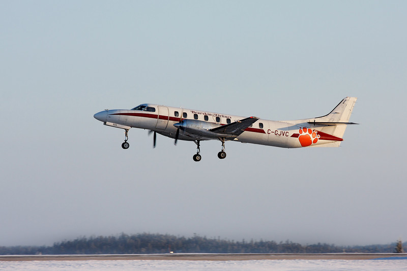 One of Bearskin Airlines newer Metros, C-GJVC, leaves the Dryden airport on a chilly (about -18C) January morning.
