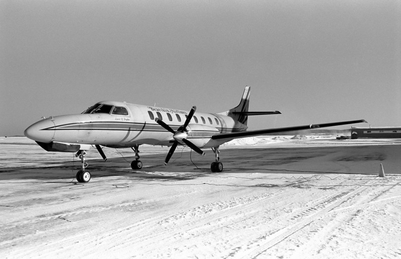 Bearskin Metro C-GYHD sits on the Dryden ramp waiting for the scheduled departure time.<br /> <br /> Voighander Vito B (circa 1954) with Ilford HP5+ developed in Kodak D76 for 8.25 minutes.