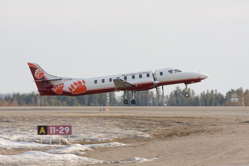 JV flt 318 leaving the Dryden Regional Airport.