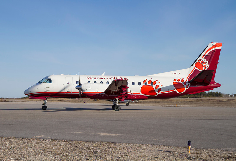 Bearsking Airlines comes to Dryden for the first time in a SAAB 340B sporting Bearskin colours. Aircraft owned and operated by Calm Air.