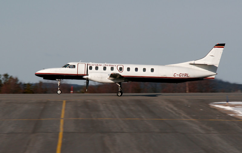 A recent purchase by Bearskin Airlines, this Metro (C-GYRL) has received a temperary paint scheme to cover the paint of the previous owner (Ex G-BUKA from the UK).