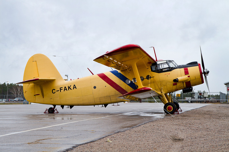It was a dull overcast rainy day when this Antonov AN-2 came to Dryden to spend the night before continuing on her way west.