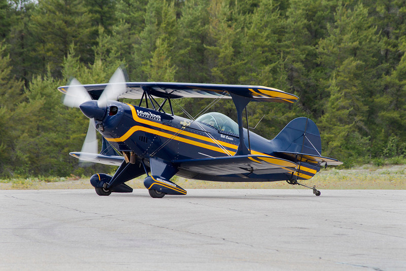 Bill Carter dropped in once again for some fuel in his Pitts S-2S.