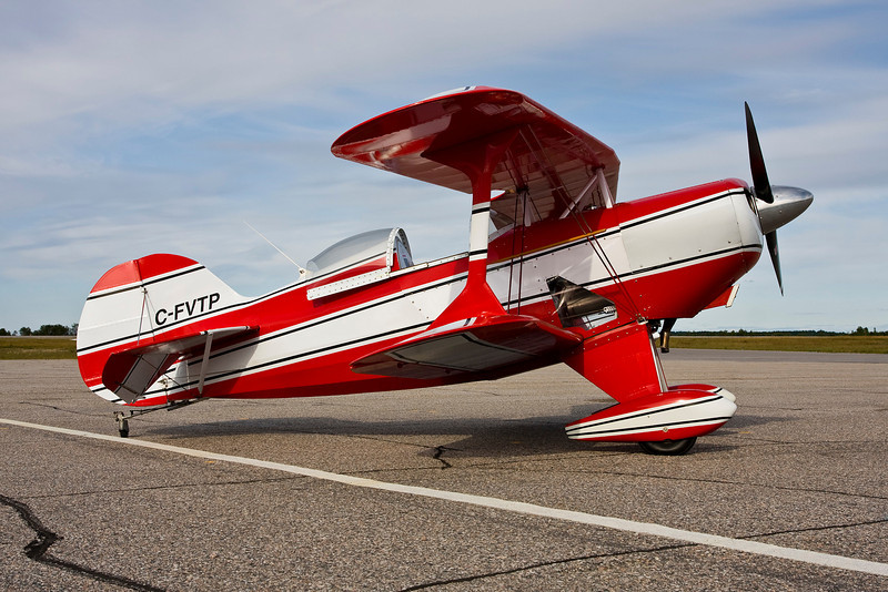 Recently purchased from BC, this Pitts Special S1C came to Dryden for fuel.