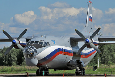 Chkalovsky Air Base (CKL/UUMU) outside Moscow on July 25, 2008. Russian Air Force Antonov An-12BK RA-12137 (cn 00377605). Operated by 223rd Flight Unit. Note the blue logo behind the flightdeck windows. This aircraft is a real beauty!