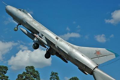 "Chkalovsky Air Base (CKL/UUMU) outside Moscow on July 25, 2008. Soviet Air Force Sukhoi Su-7BM Fitter-A ""21 White""."