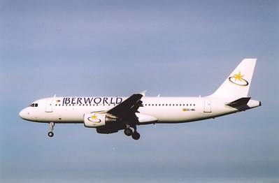 Spanish airline Iberworld Airbus EC-IMU makes its approach to Edinburgh Airport.
