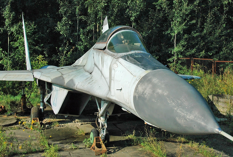 "Dolgoe Ledovo in the eastern suburbs of Moscow on August 18, 2009. Mikoyan Design Bureau MiG-29 (izdeliye 9.12) pre-production Fulcrum ""21 Blue"". This aircraft does also have the number ""921"" painted on top of the vertical fin. I think it is one of nine pre-production aircraft built by the Znamya Truda factory in Moscow and tested by the MiG OKB. The historical ""21 Blue"" was used as a instructional airframe at a technical institute, before being scrapped."