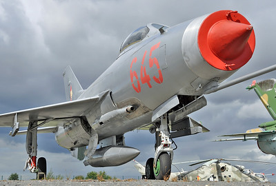 "Luftwaffe Museum at Berlin-Gatow on september 15, 2012. East German Air Force MiG-21F-13 Fishbed-C ""645 Red"" (cn 74211924)."