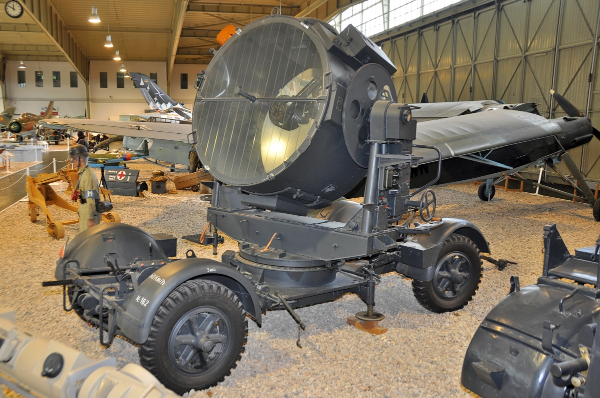 Luftwaffe Museum at Berlin-Gatow on September 15, 2012. 150 cm Flakscheinwerfer 34. placed on a Sonderanhänger 104.