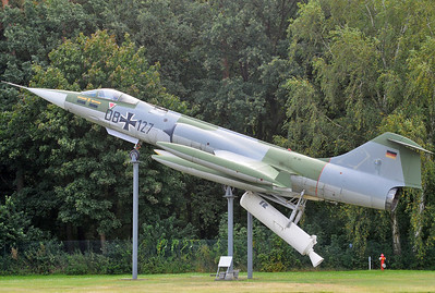 "Luftwaffenmuseum der Bundeswehr at the former airbase of Berlin-Gatow on September 15, 2012. Luftwaffe Lockheed F-104G ZELL Starfighter ""DB+127"" (cn 683-2002). ZELL stands for Zero Lenght Launch."