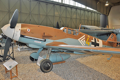 "Luftwaffe Museum at Berlin-Gatow on September 15, 2012. Luftwaffe Messerschmitt Bf 109G-2 ""yellow 4"" in the colours of II./JG 27. This is a rebuilt Hispano HA-1109-K1L Bucon."