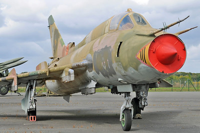 "Luftwaffe Museum at Berlin-Gatow on September 15, 2012. Former East German Air Force Sukhoi Su-22M4 Fitter-K ""613 Red"" (cn 25018)."
