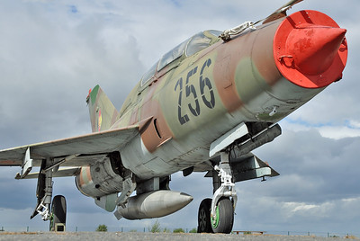 "Luftwaffe Museum at Berlin-Gatow on September 15, 2012. East German Air Force MiG-21UM Mongol-B ""256 Black (cn 02695156)."