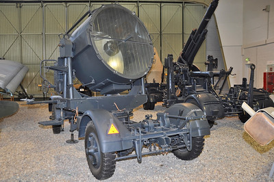 Luftwaffe Museum at Berlin-Gatow on September 15, 2012. 150 cm Flakscheinwerfer 34, placed on a Sonderanhänger 104.