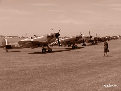 WWII Fighter Lineup. Spitfire Mk I  X4650  KL-A at front Duxford, UK, 07/11/2015 This work is licensed under a Creative Commons Attribution- NonCommercial 4.0 International License