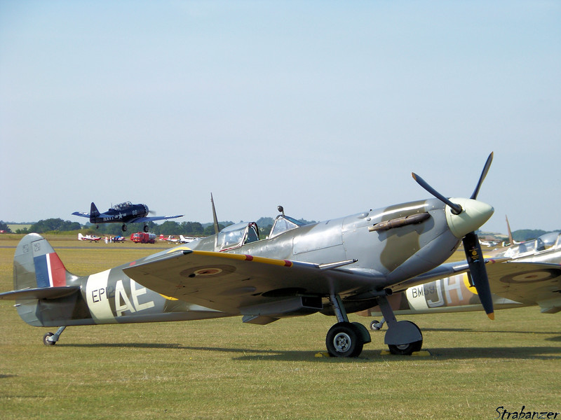 Supermarine LF Mk.Vb Spitfire EP120 (G-LFVB)<br /> (In background North American T6J Harvard <br /> 52-8543  G-BUKY)