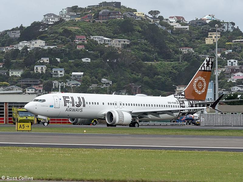 First Fiji Airways B737 MAX 8 at Wellington, 20 December 2018