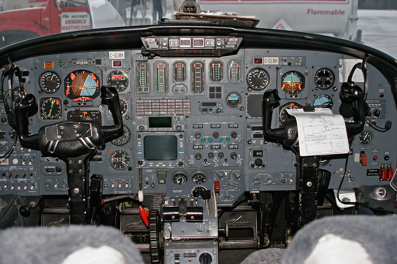 Flightdeck of C-GLMK (Citation II), Owned by Air Tindi of Yellowknife, Northwest Territories Canada.<br /> <br /> Air Tindi was in Dryden to deplane some passengers, and re-fuel.
