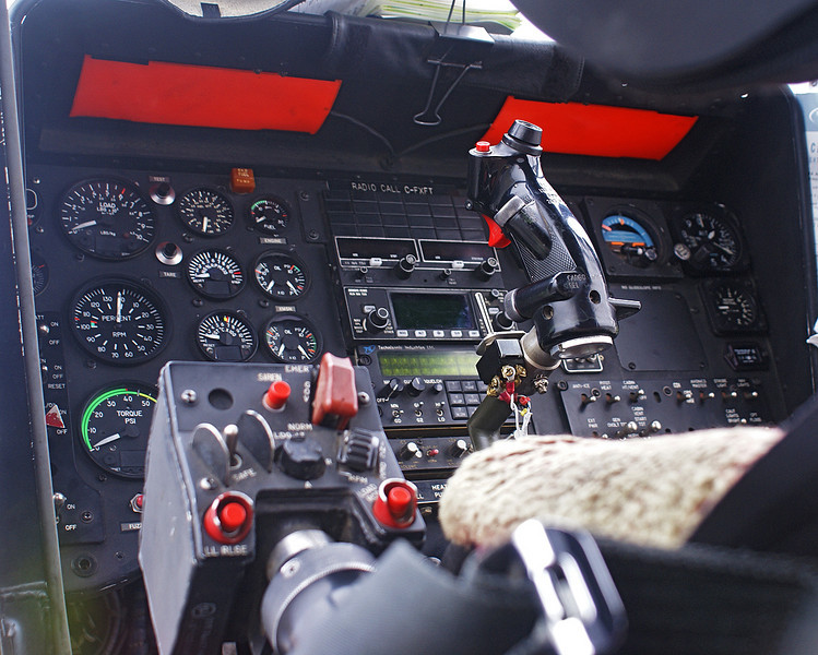 Instrument panel of a Kaman K-1200 owned by Heliqwest Aviation Inc.  as shot through the left window.