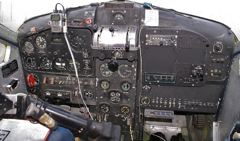 "Flightdeck of a Dehavilland DHC-2 MK. III (Turbo Beaver), Serial No: 1650TB28 (built Feb of 1966), as she sits on the ramp at the Dryden Regional Airport on Oct 15, 2007.  Camera was not straight as I was sitting behind the right seat, and the captain was sitting behind the left seat holding the stick back so I could get a shot with out the instruments being blocked.  Compare instrument panels with this  <a href=""http://djkennedy.smugmug.com/gallery/2047230#195181443""> Turbo Beaver</a>  (C-FOPA)."