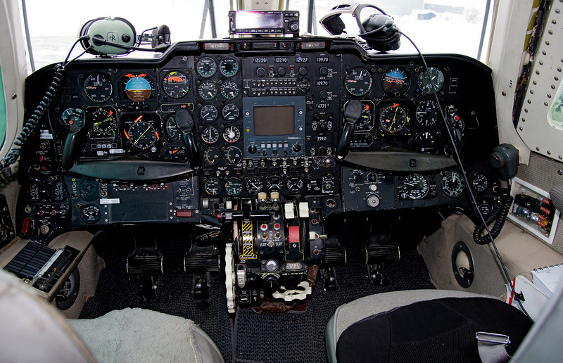 A flightdeck from a Mitsubishi MU-2B-60 (C-FRWK) that is set to be used as a medi-vac.