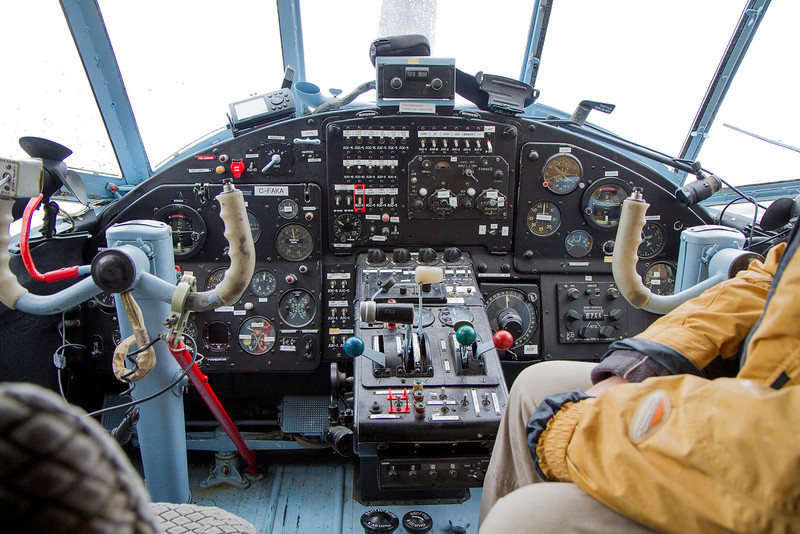 """Instrument panel of an Antonov AN-2. The pliot showed me his favorite switch which read """"UFO Lights""""...hmm.."""