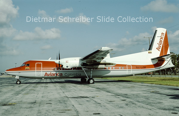1993-05 PH-LXW Fokker F50 (c/n 20266) Avianca Colombia