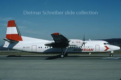 1991-02-24 OE-LFA Fokker 50 Austrian Air Service; Austrian Airlines