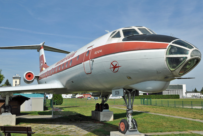 Flugplatz Magdeburg (EDBM) in Germany on September 9, 2012. Interflug Tupolev Tu-134 DDR-SCB (cn 8350503).