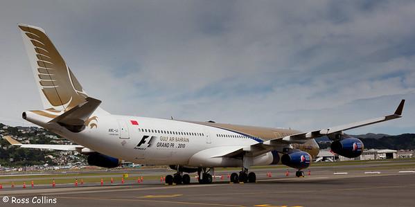 Gulf Air A340-313X at Wellington International Airport, November 2009