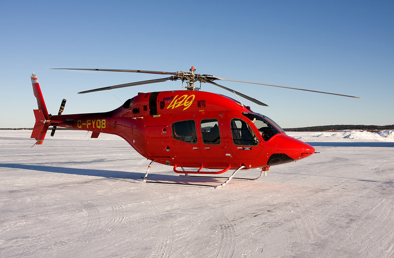 An experimental aircraft, a Bell 429. At the time of this photo she was not on the market yet.<br /> <br /> There was a decal on the door indicating that this aircraft was operating without a certificate of airworthiness. She was on the way to Thompson MB for cold temperature flight testing.