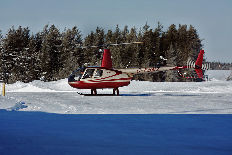 This  Robinson R44 came to Dryden today for fuel.