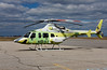 A Bell 430. This is the last Bell 430 to be manufactured according to the pilot - the serial number is 49129. <br /> <br /> It is on the way to Vancouver BC to be shipped over to Korea to become a news helicopter. The new owners ordered the aircraft without paint, as they felt they could paint it cheaper than what Bell charges.<br /> <br /> You'd think for $8M USD, that painting would be part of the deal!